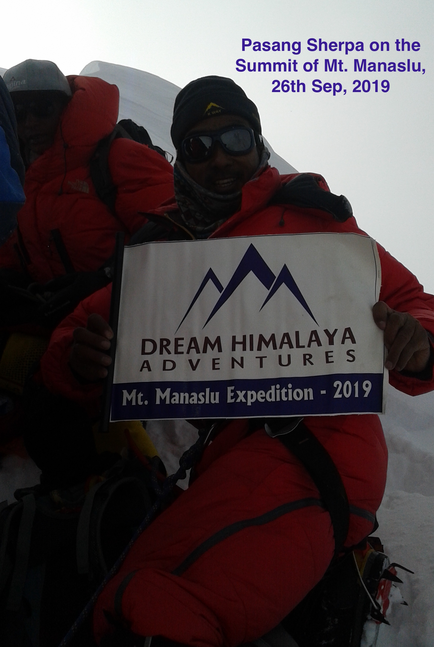 Pasang Sherpa on the summit of Mt Manaslu - 2019