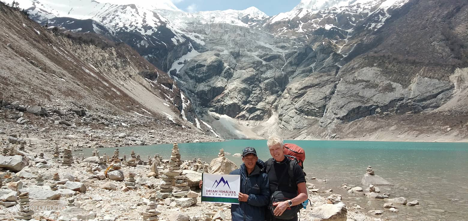 Lake near Manaslu base camp Manaslu circuit trekking
