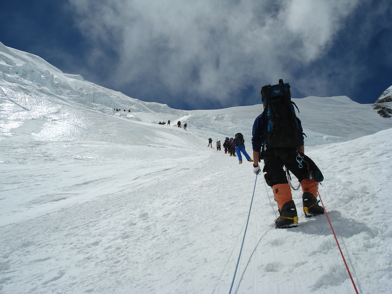 Climbing to North Col of Mt Everest North