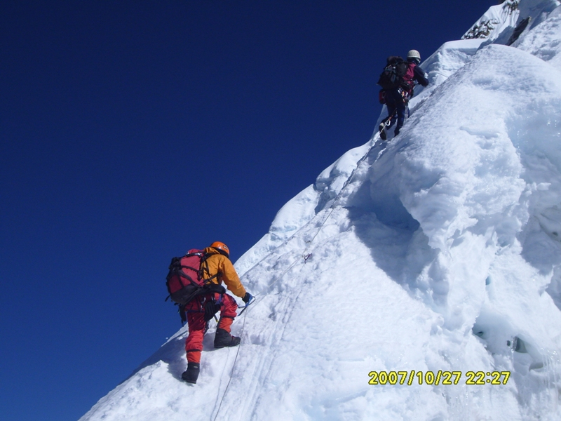 Climbing to Camp III on Mt. Amadablam