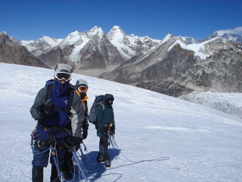 Climbing climbing on Mera Peak