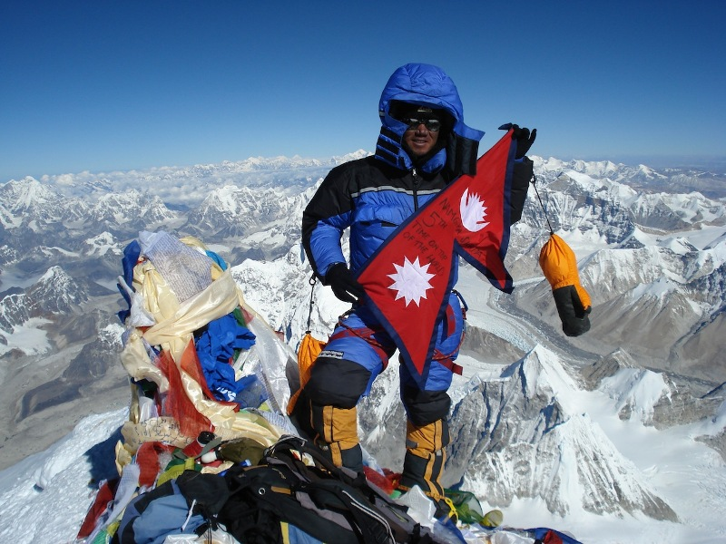 Namgya sherpa on summit of Mt Everest
