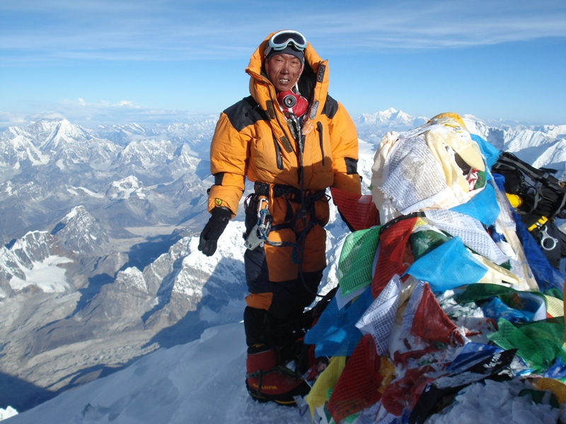 Kami sherpa on the summit of  Mt Everest