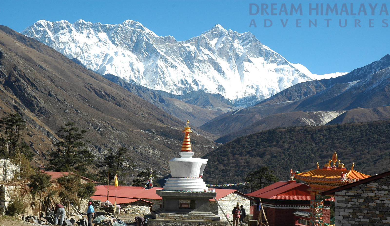 Everest & Lhotse view from Tengbouche