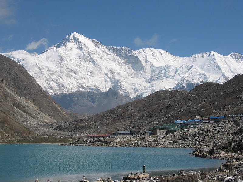 Gokyo Lake and Mt. Cho Oyu on back ground