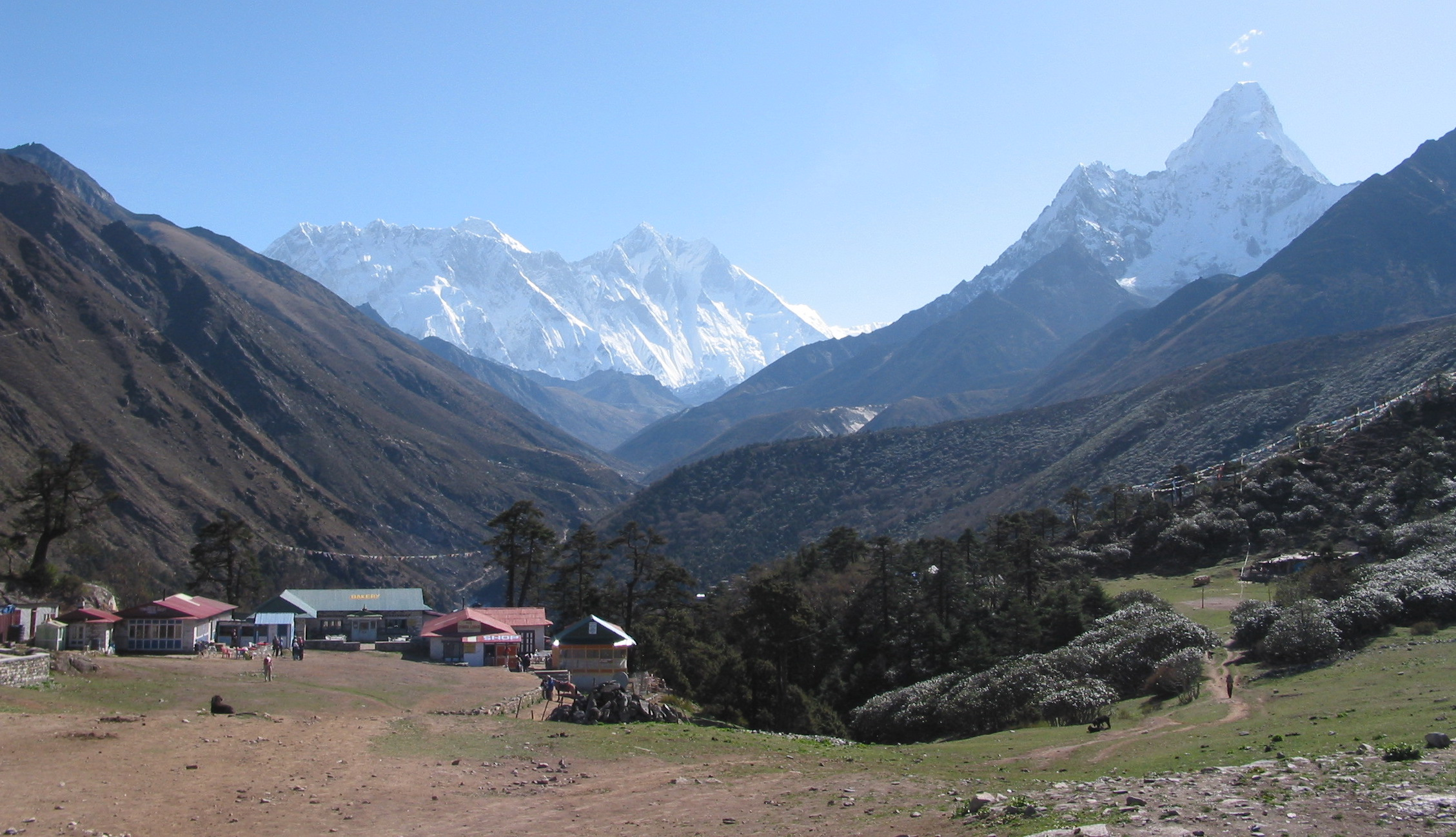 Everest and Amadablam view from Tengbouche