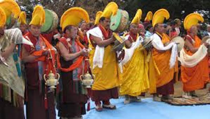 Buddhist monks dance on Mani Rimdu festival in everest region