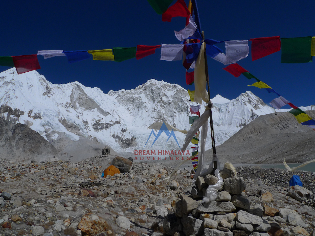 Baruntse Peak and base camp