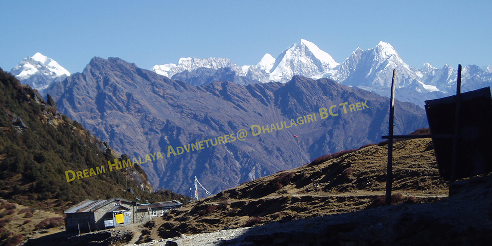 Peaks and path on Dhaulagiri area trekking