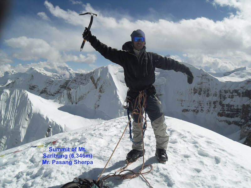 Pasang Sherpa on the summit of Mt Saribung