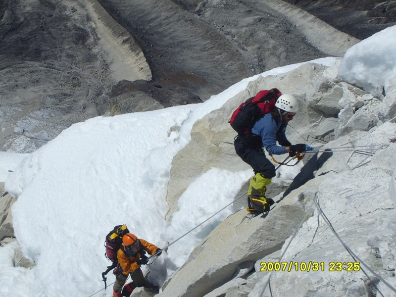 Climbing just below Camp II on Mt. Amadablam Expedition