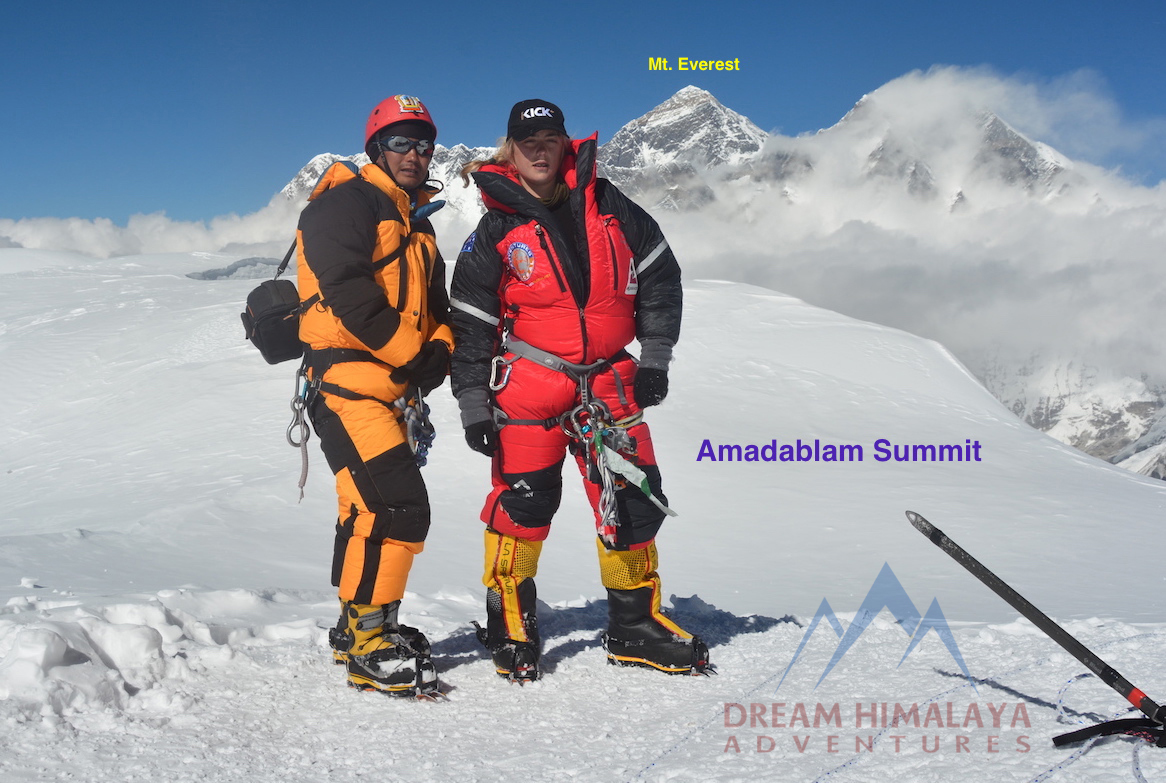 Ang Kami and Alyssa on summit of Mt. Amadablam