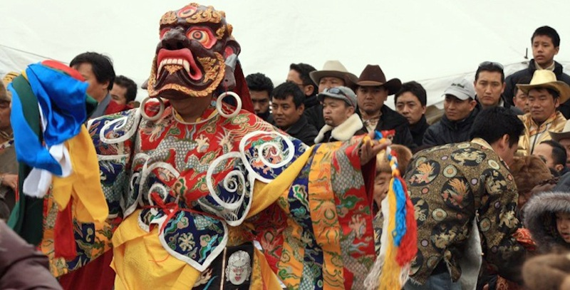 Monks dance on Mani Rimdu Festival in everest region
