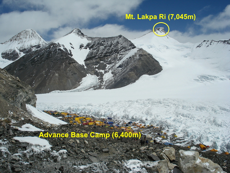 advance base camp Lhakpa Ri expedition