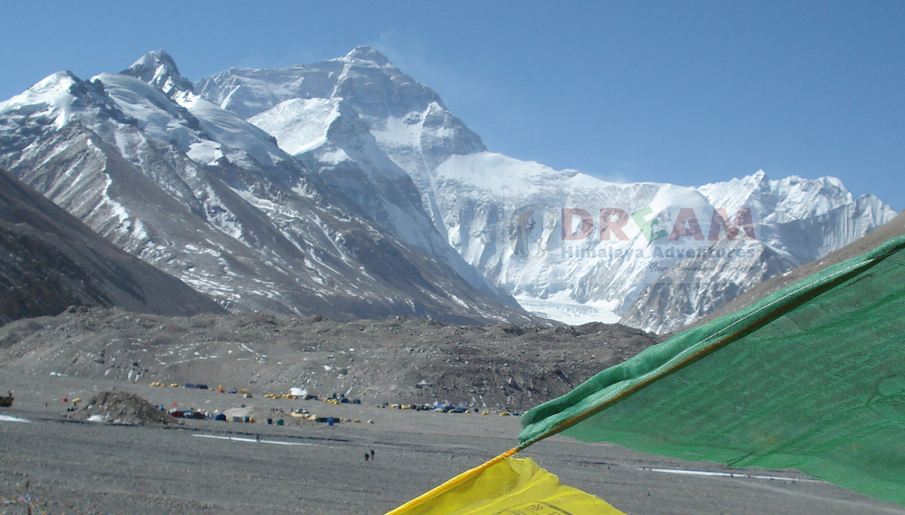 Mt Everest North and its base camp