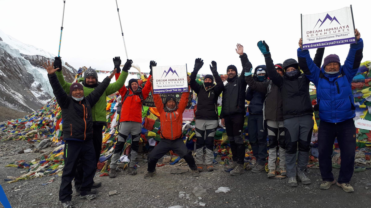 Dream Himalaya Adventures trekkers on the summit of Thorang La Pass