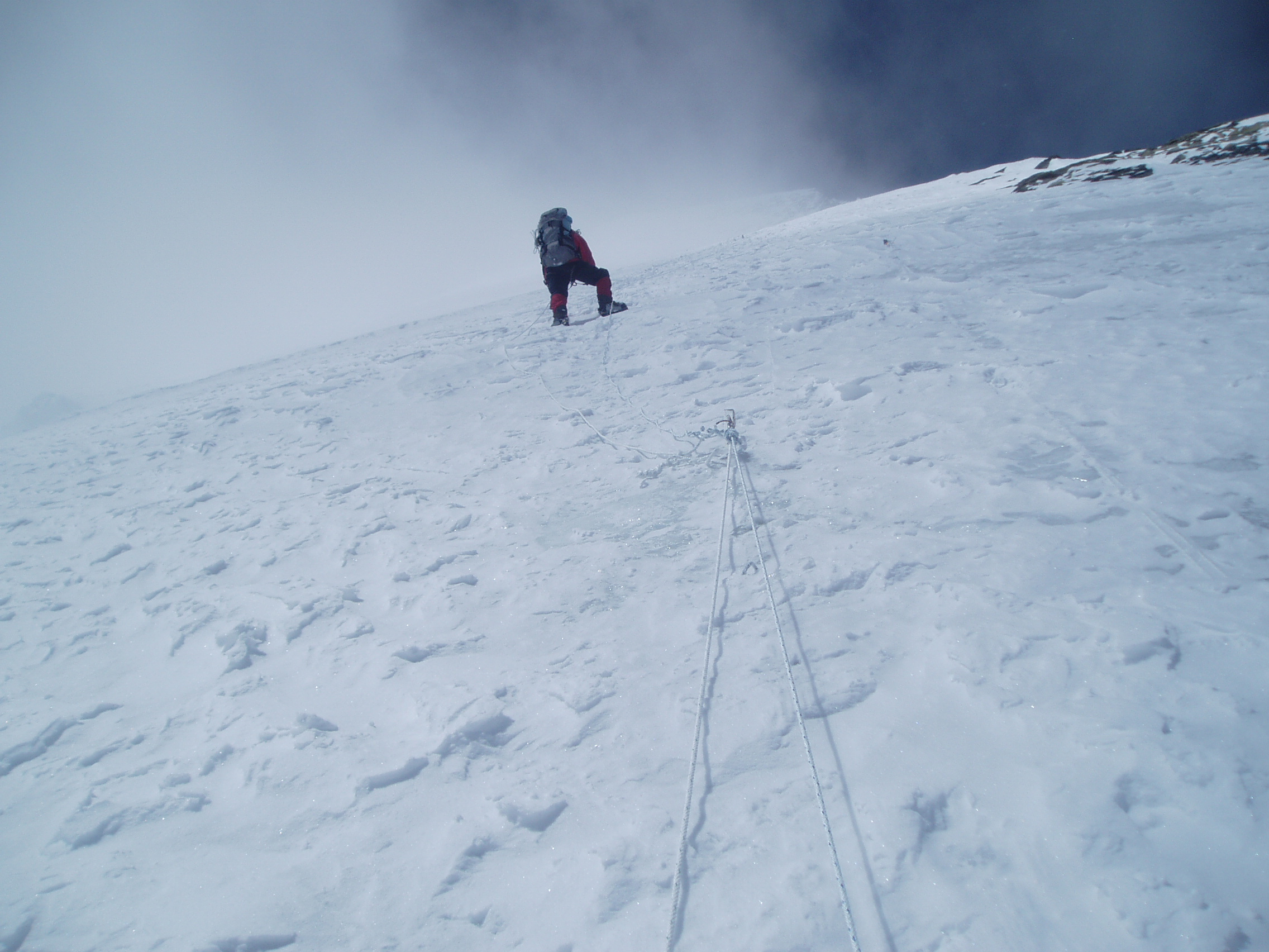 Climber making their way to higher camps on Mt Dhaulagiri